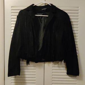 Vintage styled Black Velvety Crop Jacket Fringe L